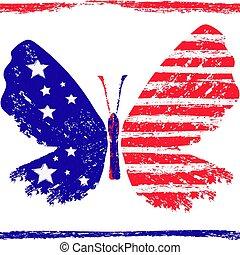 πεταλούδα , grunge , τρίχρωμη σημαία, η γαλλική , γαλόνι , ευφυής , αστέρας του κινηματογράφου , red-blue-white