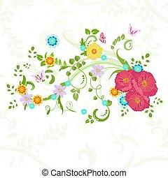 πεταλούδες , λουλούδια , λιβάδι , βινιέτα