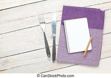 πετσέτα , ξύλινος , πάνω , μπλοκ , ασημικά , τραπέζι , κουζίνα