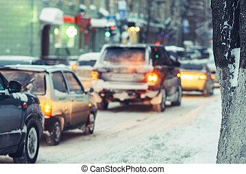 πηγαίνω , άμαξα αυτοκίνητο , βράδυ , δρόμοs , χιονάτος