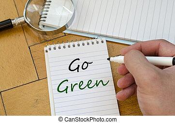πηγαίνω , γενική ιδέα , πράσινο , σημειωματάριο