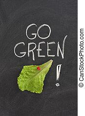 πηγαίνω , μαυροπίνακας , γενική ιδέα , πράσινο