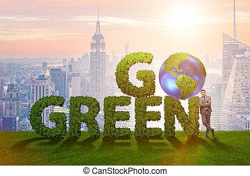 πηγαίνω , πράσινο , περιβάλλοντος , γενική ιδέα , με , γράμματα