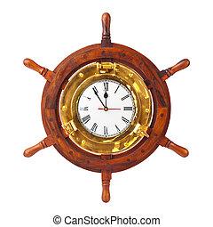 πηδάλιο , ξύλο , ρολόι