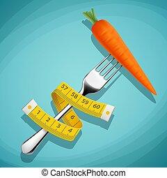 πηρούνι , μέτρημα , βάροs , υγιεινός , lo , αισθημάτων κλπ. , καρότο , tape.