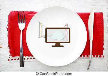 πηρούνι , πιάτο , γενική ιδέα , χρήση υπολογιστή , σύνεφο , άσπρο , μαχαίρι