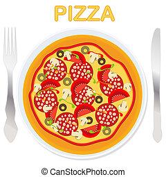 πηρούνι , πιάτο , μικροβιοφορέας , μαχαίρι , πίτα με τομάτες και τυρί