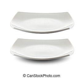 πιάτο , απόκομμα , τετράγωνο , απομονωμένος , included, ατραπός , άσπρο