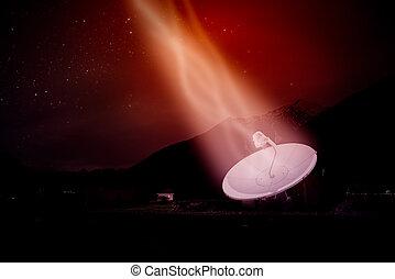 πιάτο δορυφορικής κεραίας , κάτω από , ένα , αστερόεις , άγνοια κλίμα