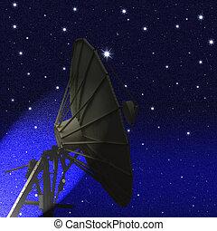 πιάτο δορυφορικής κεραίας , τη νύκτα , απαστράπτων αστεροειδής κλίμα , φόντο