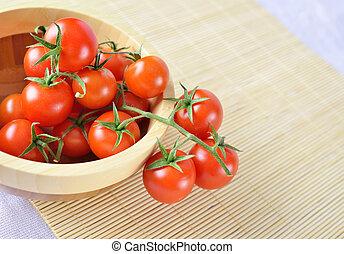 πιάτο , ξύλινος , κεράσι , κλήμα , φόντο , φρέσκος , μπαμπού , ντομάτες