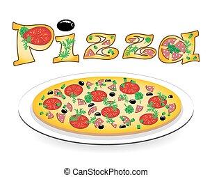 πιάτο , πίτα με τομάτες και τυρί , αυτό , επιγραφή