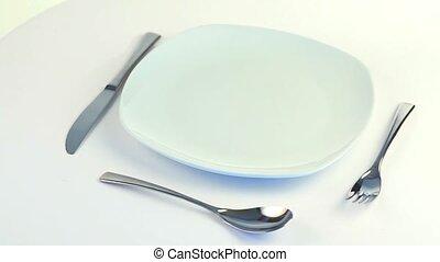 πιάτο , πηρούνι , μαχαίρι , και , κουτάλι , turnin