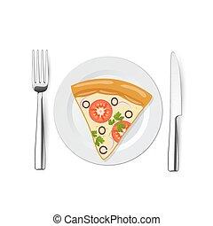 πιάτο , πηρούνι , μαχαίρι , πίτα με τομάτες και τυρί