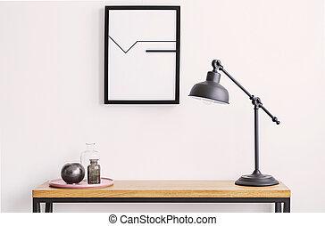 πιάτο , τοίχοs , αφίσα , κορνίζα , δέμα , γυαλί , λάμπα , closeup , επάνω , τραπέζι , άσπρο , μαύρο