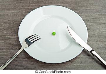 πιάτο , concept., δίαιτα , εις , άσπρο , μπιζέλι , αδειάζω