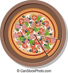 πιάτο , illustration., απομονωμένος , μικροβιοφορέας , άσπρο , πίτα με τομάτες και τυρί