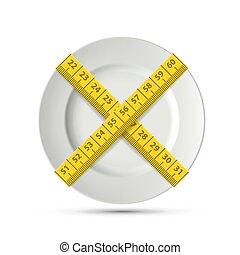 πιάτο , loss., βάροs , αδυνάτισμα , ράφτης , άσπρο , tape., στοκ