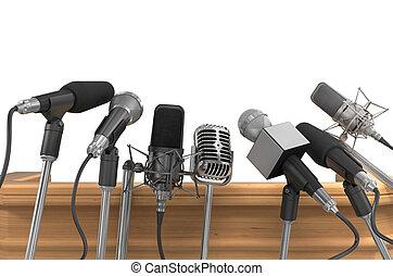πιέζω , μέσα ενημέρωσης , microphones., συνέδριο