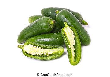 πιπέρι , απομονωμένος , jalapeno , white.