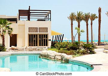 πισίνα , σε , ο , πολυτέλεια , βίλλα , saadiyat, νησί , abu dhabi , uae