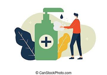 πλένω , δικός του , άντραs , μικροβιοφορέας , ανάμιξη , covid-19, εικόνα , γενική ιδέα