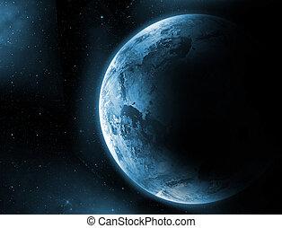 πλανήτης γαία , με , ανατολή , μέσα , ο , sp