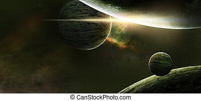 πλανήτης , επάνω , ένα , αστερόεις , φόντο