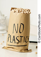 πλαστικά είδη , γεμάτος , όχι , εδάφιο , τσάντα , χαρτί , chickpeas