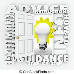πληροφορίες , πόρτα , how-to, άνοιγμα , συμβουλή , αντίληψη , λέξη , οδηγίεs
