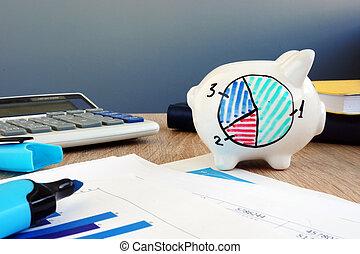 πλούτος , management., κουμπαράς, με , οικονομικός , δομή , από , savings.