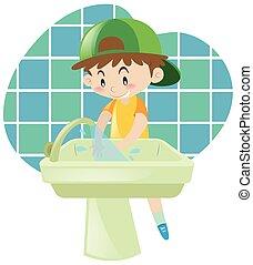 πλύση , μικρός , ανάμιξη , αγόρι