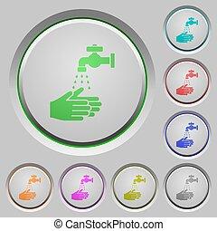 πλύση , χέρι , ανοίγω δρόμο σπρώχνοντας κουμπί