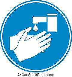 πλύση , χέρι , φόντο , ή , σύμβολο , εικόνα , μπλε