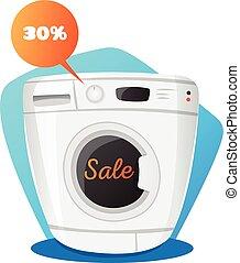 πλύση , concept., πώληση , εικόνα , γελοιογραφία , μηχανή , μικροβιοφορέας , επιστήμη των ηλεκτρονίων , style., κουζίνα