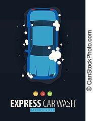 πλύση , service., foam., αυτοκίνητο , εαυτόs , πλένω , μικροβιοφορέας , illustration.