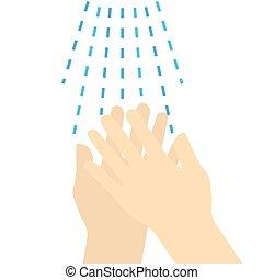 πλύση , -vector, εικόνα , χέρι