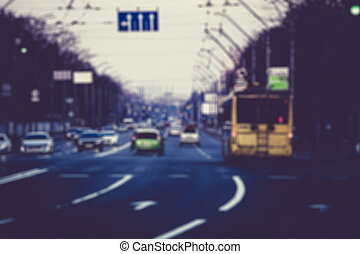 πνεύμονες ζώων , κυκλοφορία , δρόμοs , δρόμοs , βράδυ , άμαξα αυτοκίνητο , θολός