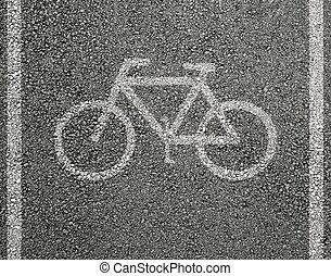 ποδήλατο , άσφαλτος , σήμα