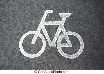 ποδήλατο , άσφαλτος , σήμα , ποδήλατο , lane., άσπρο