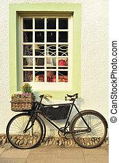 ποδήλατο , έξω , ένα , απαρχαιωμένος , κατάστημα