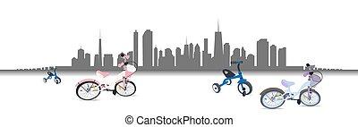 ποδήλατο , μικροβιοφορέας , city., illustration., ιππασία