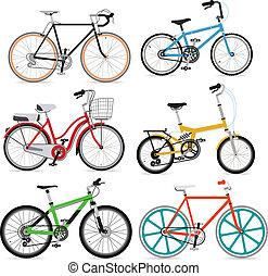 ποδήλατο , set., μικροβιοφορέας , illustration.