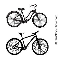 ποδήλατο , silhouette., μικροβιοφορέας , εικονογράφος