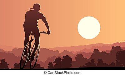 ποδηλάτης , καβαλλικεύω , sunset.