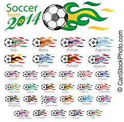 ποδόσφαιρο , σημαία , θέτω , φλόγα , μπάλα
