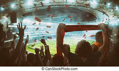 ποδόσφαιρο , σκηνή , ενθαρρυντικός , αερίζω , στάδιο , νύκτα , σπίρτο