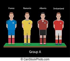 ποδόσφαιρο , players., αλβανία , ρουμανία , γαλλία , teams., ελβετία , ποδόσφαιρο