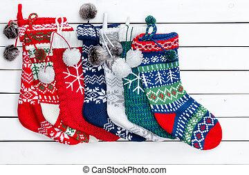 ποικιλία , από , διακοπές χριστουγέννων κάλτσα , αναμμένος αγαθός , ξύλο , τραπέζι