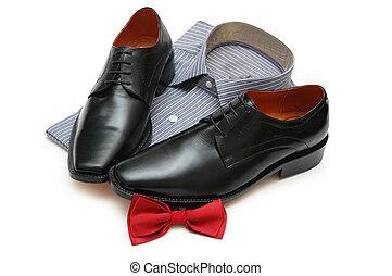 ποκάμισο , παπούτσια , απομονωμένος , bow-tie , μαύρο ,...